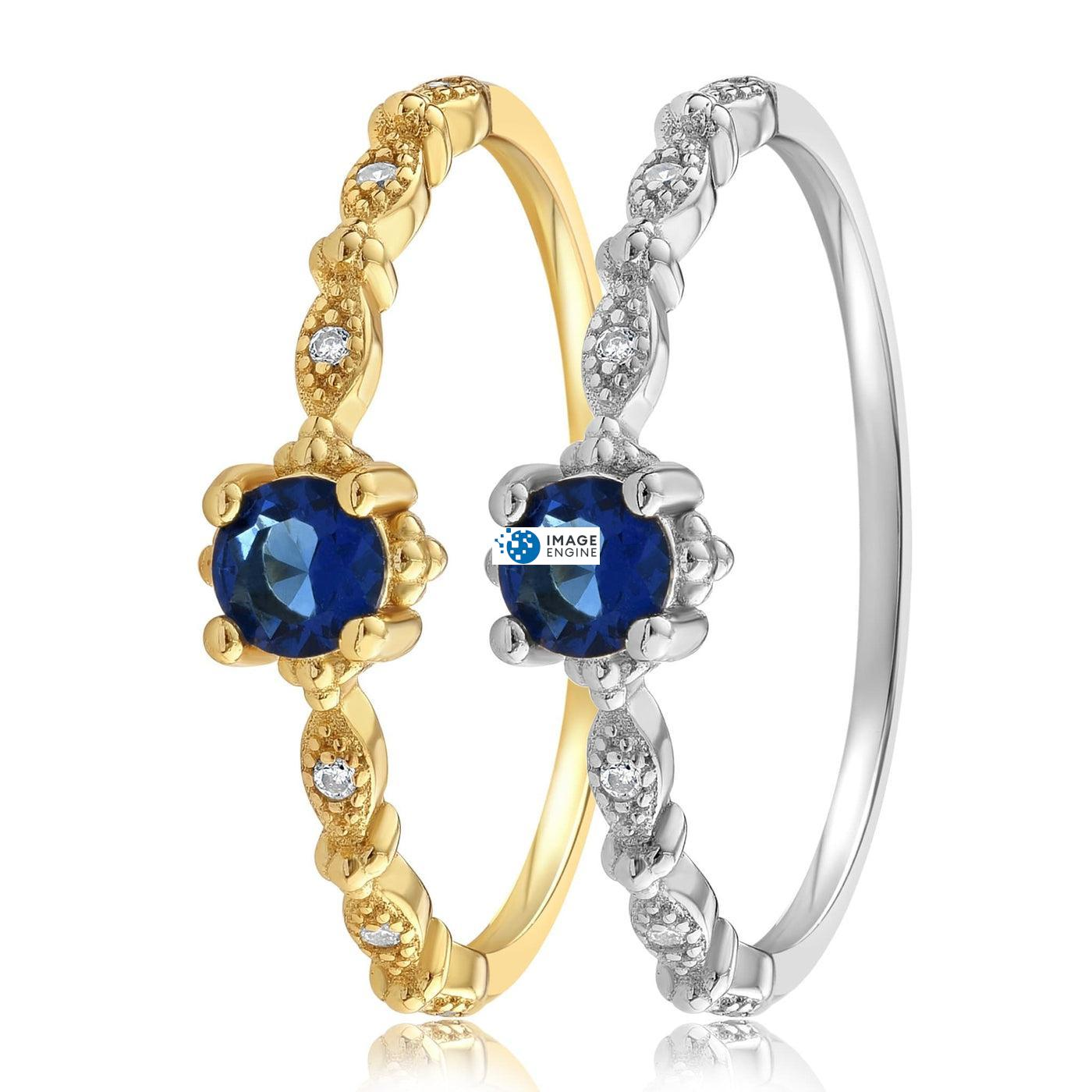 Garen Ring Blue Gemstone - Side by Side - 18K Yellow Gold and 925 Sterling Silver