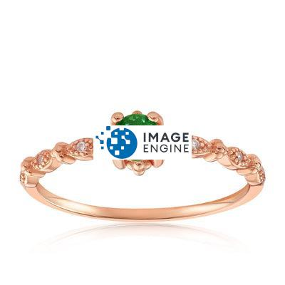Garen Ring Green Gemstone - Front View Facing Up - 18K Rose Gold Vermeil