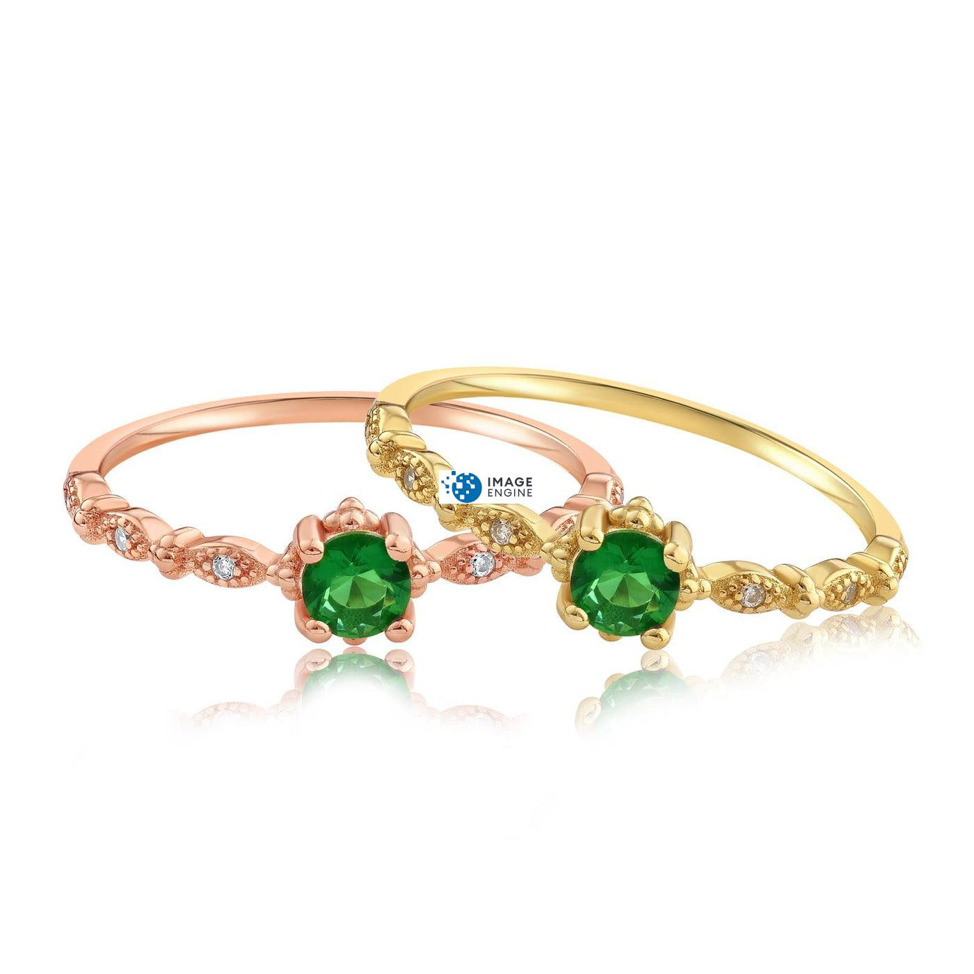 Garen Ring Green Gemstone - Front View Side by Side - 18K Rose Gold Vermeil and 18K Yellow Gold Vermeil