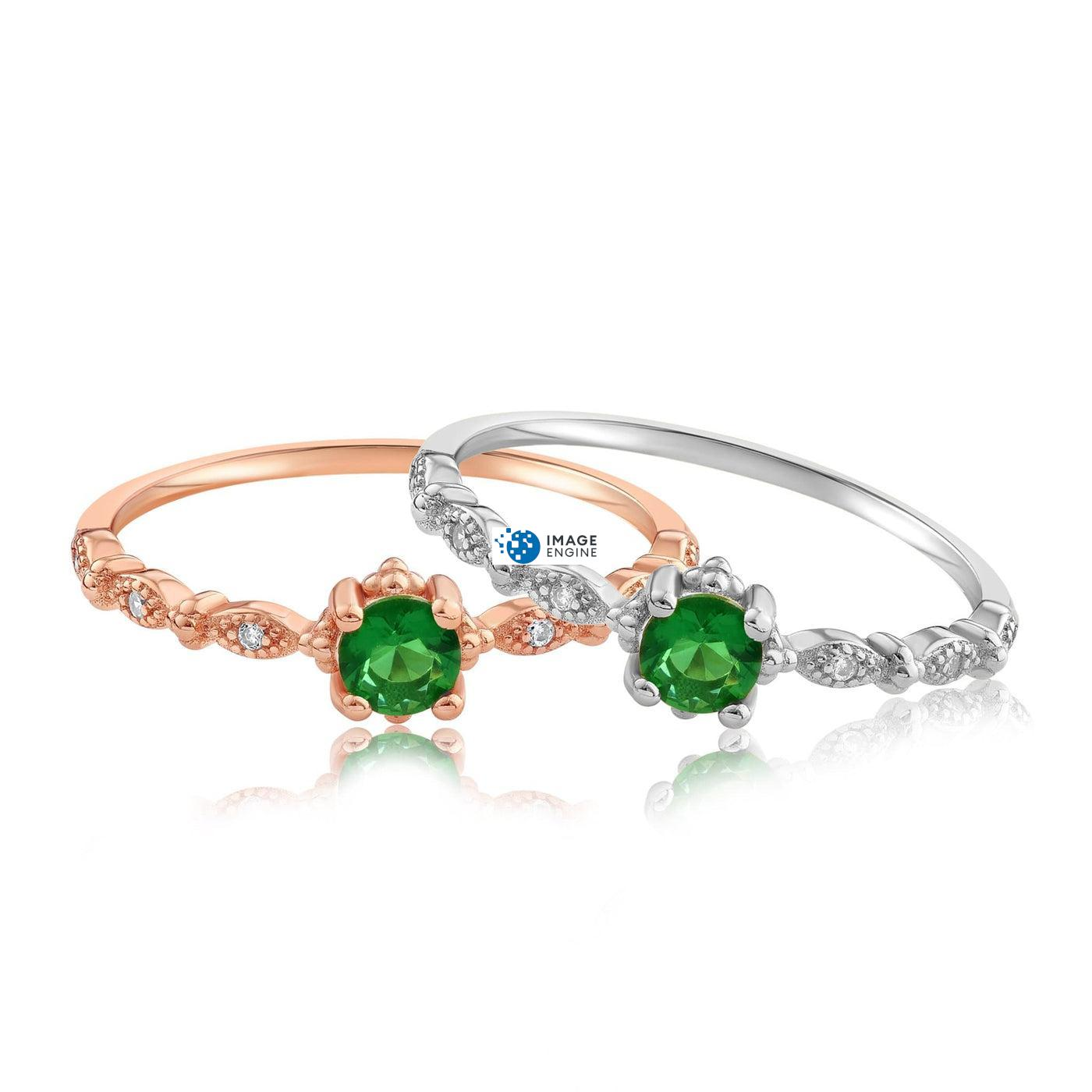 Garen Ring Green Gemstone - Front View Side by Side - 18K Rose Gold Vermeil and 925 Sterling Silver
