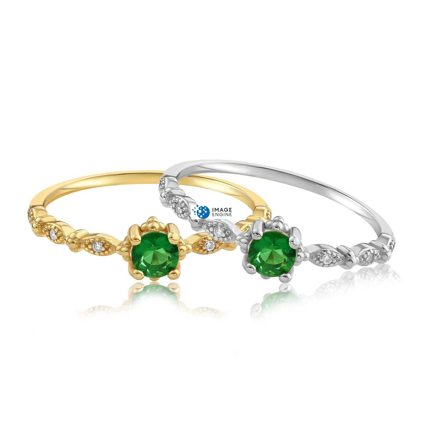 Garen Ring Green Gemstone - Front View Side by Side - 18K Yellow Gold Vermeil and 925 Sterling Silver