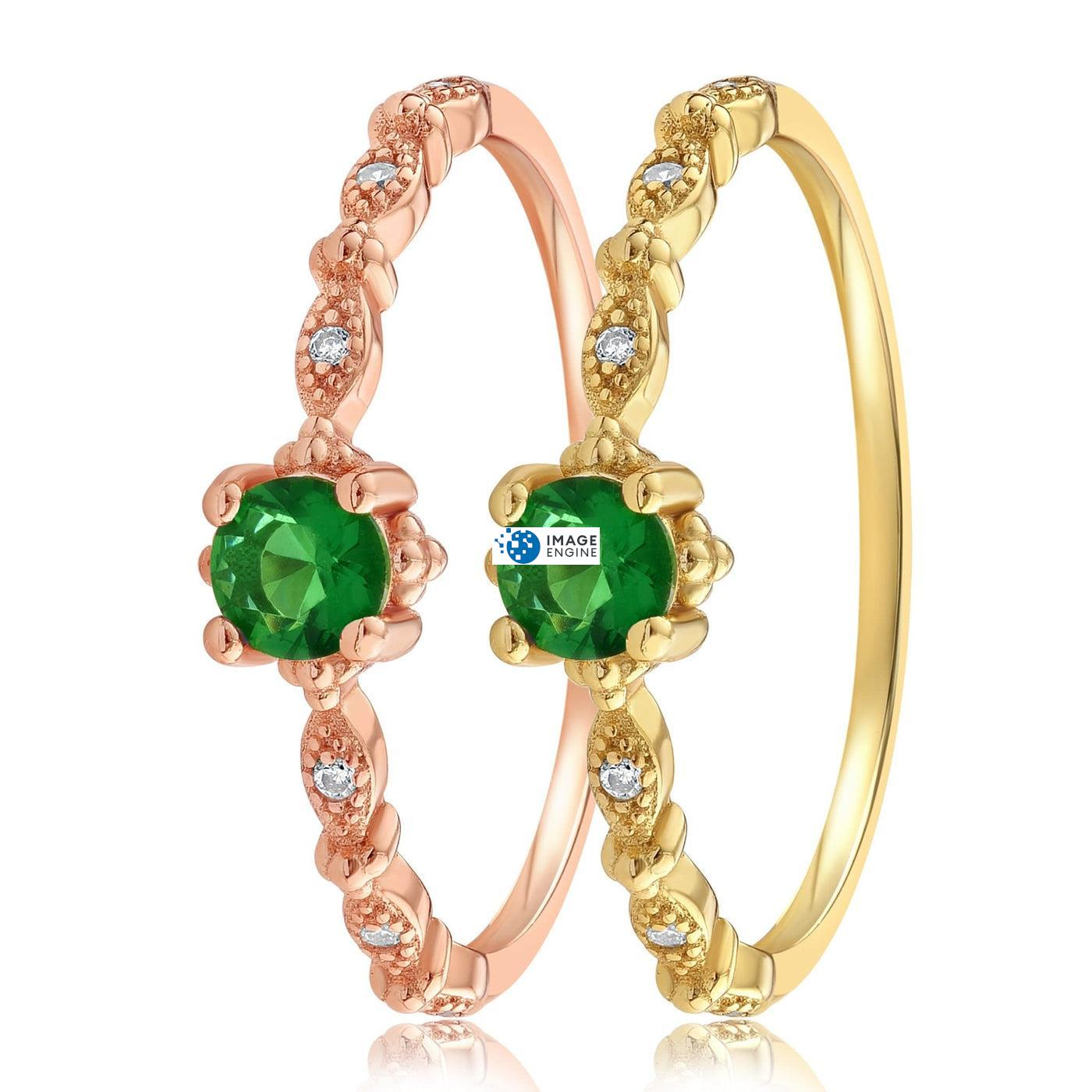 Garen Ring Green Gemstone - Side by Side - 18K Yellow Gold Vermeil and 18K Rose Gold Vermeil
