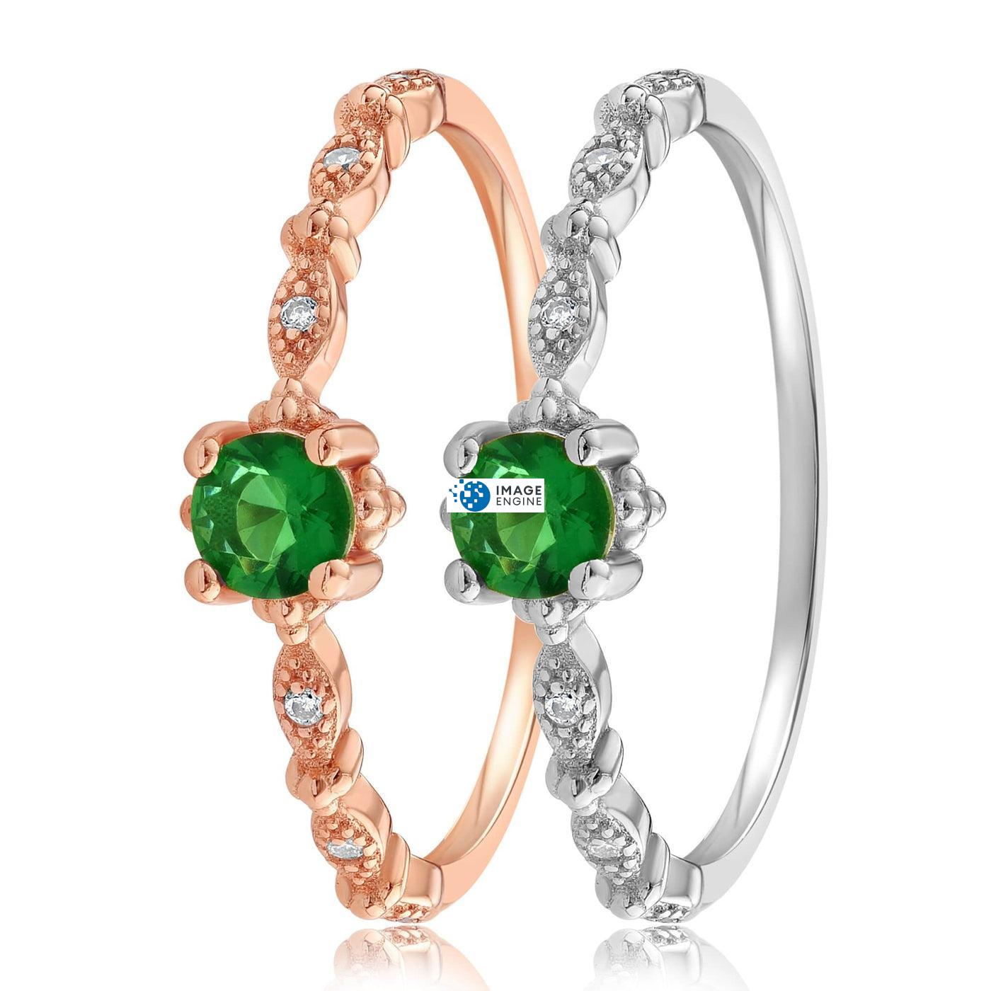 Garen Ring Green Gemstone - Side by Side - 925 Sterling Silver and 18K Rose Gold Vermeil