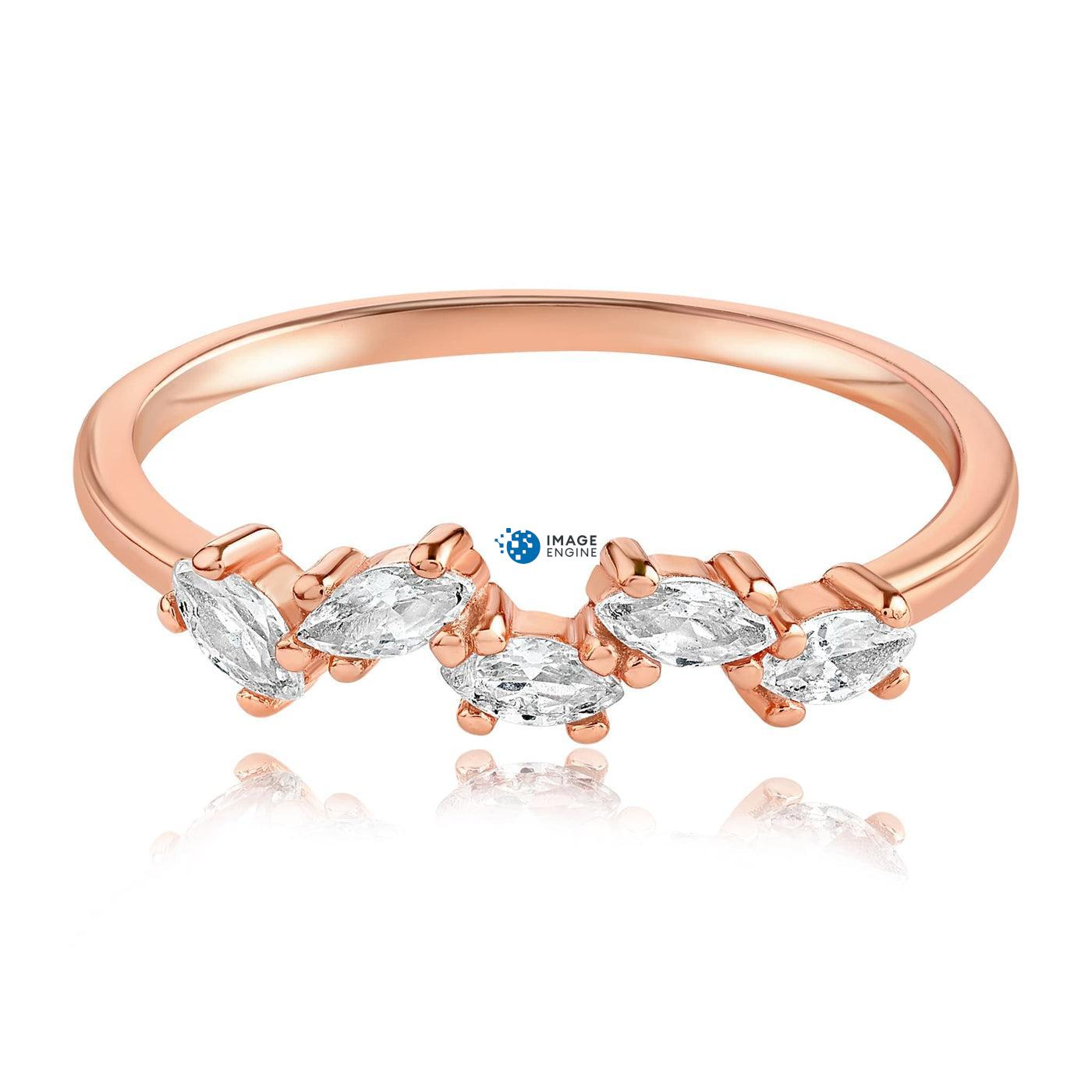 Genna Round Cut Ring - Front View Facing Down - 18K Rose Gold Vermeil