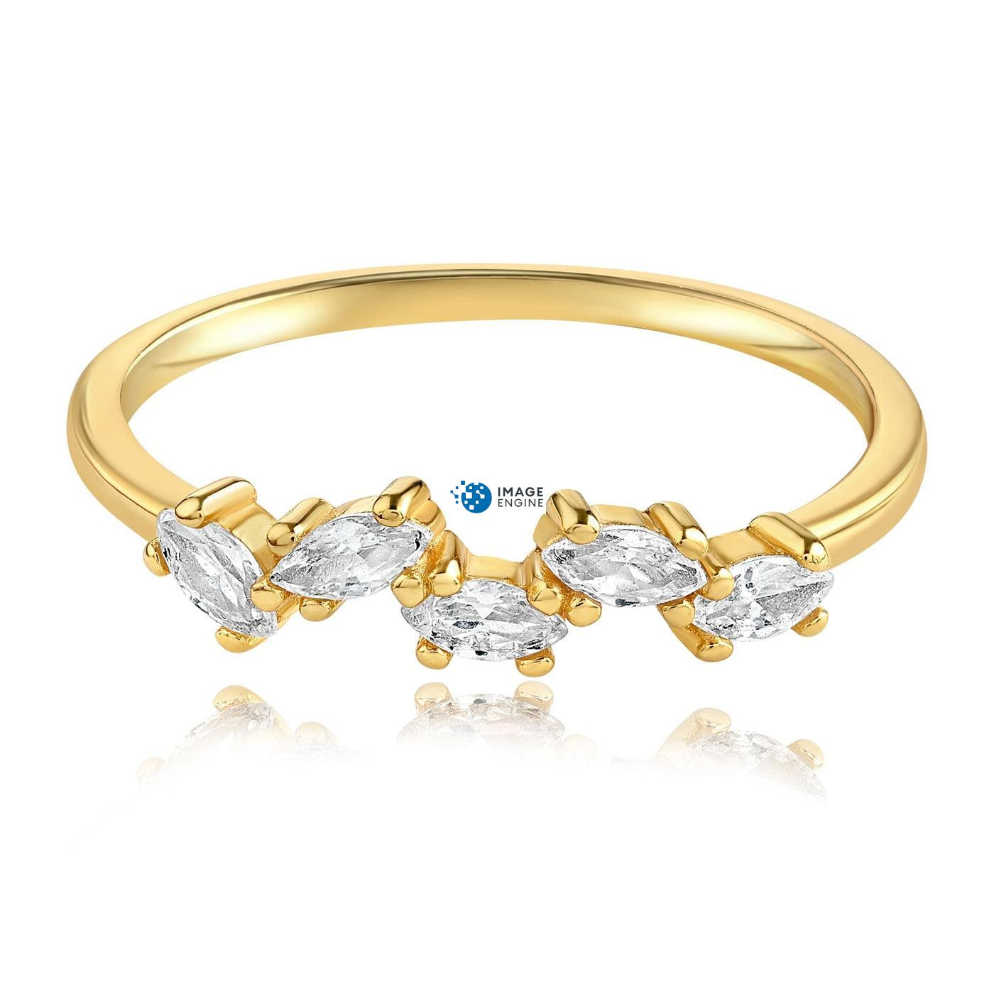 Genna Round Cut Ring - Front View Facing Down - 18K Yellow Gold Vermeil