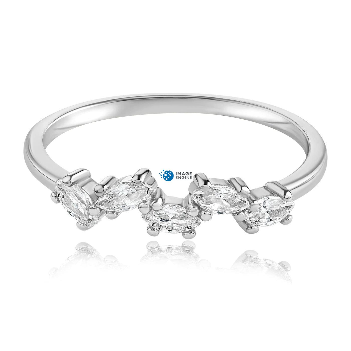 Genna Round Cut Ring - Front View Facing Down - 925 Sterling Silver