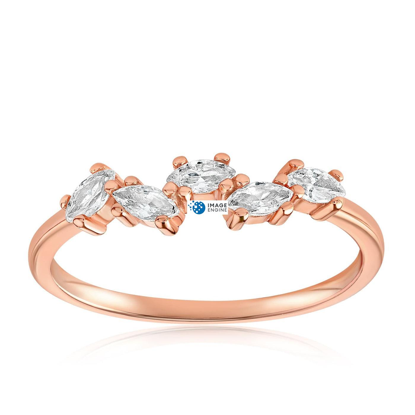 Genna Round Cut Ring - Front View Facing Up - 18K Rose Gold Vermeil
