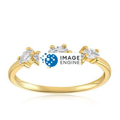 Genna Round Cut Ring - Front View Facing Up - 18K Yellow Gold Vermeil Featured