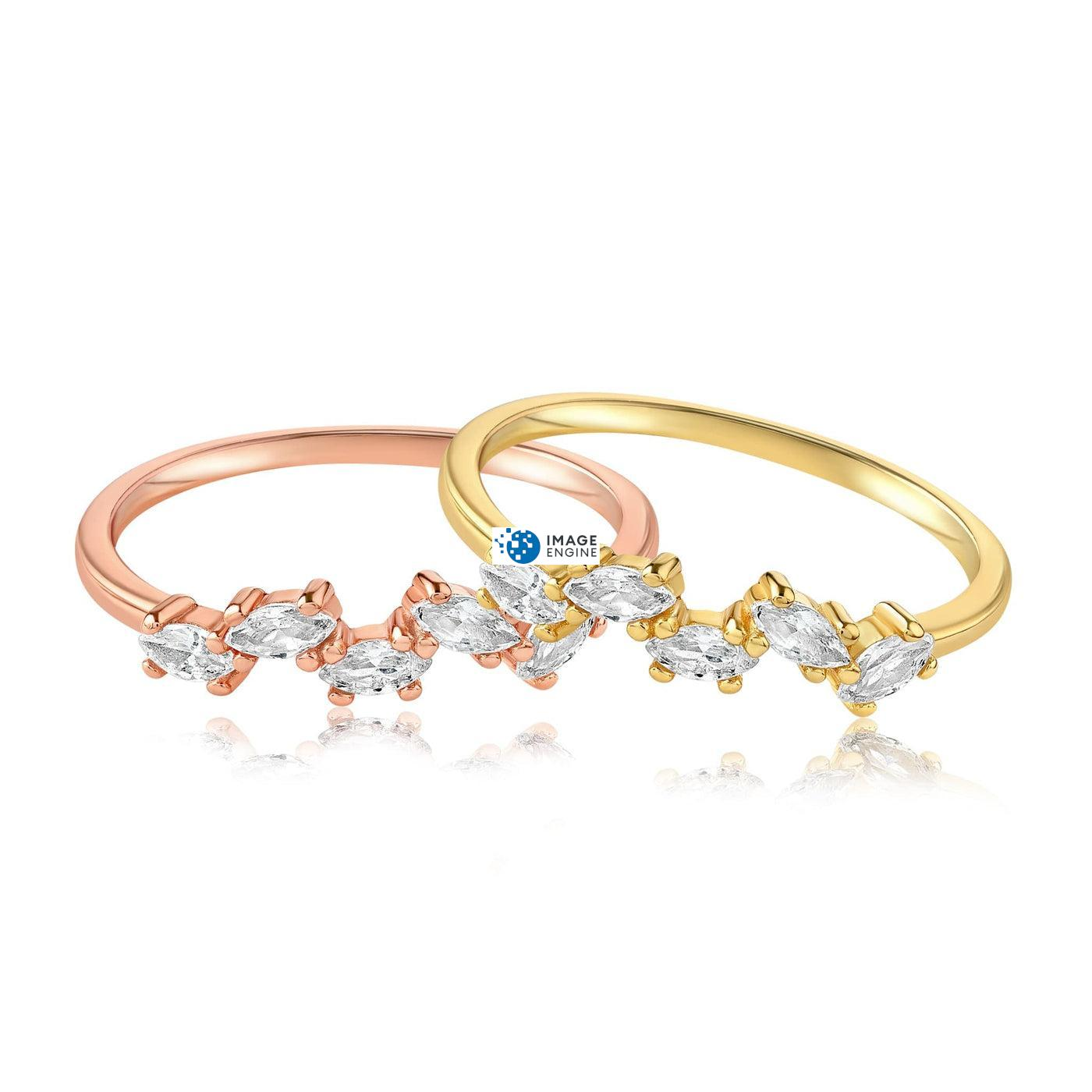 Genna Round Cut Ring - Front View Side by Side - 18K Rose Gold Vermeil and 18K Yellow Gold Vermeil