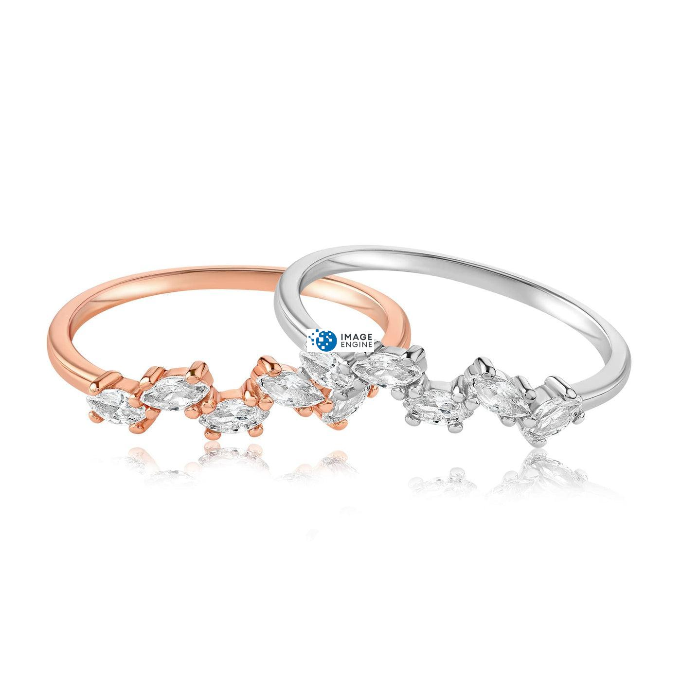 Genna Round Cut Ring - Front View Side by Side - 18K Rose Gold Vermeil and 925 Sterling Silver