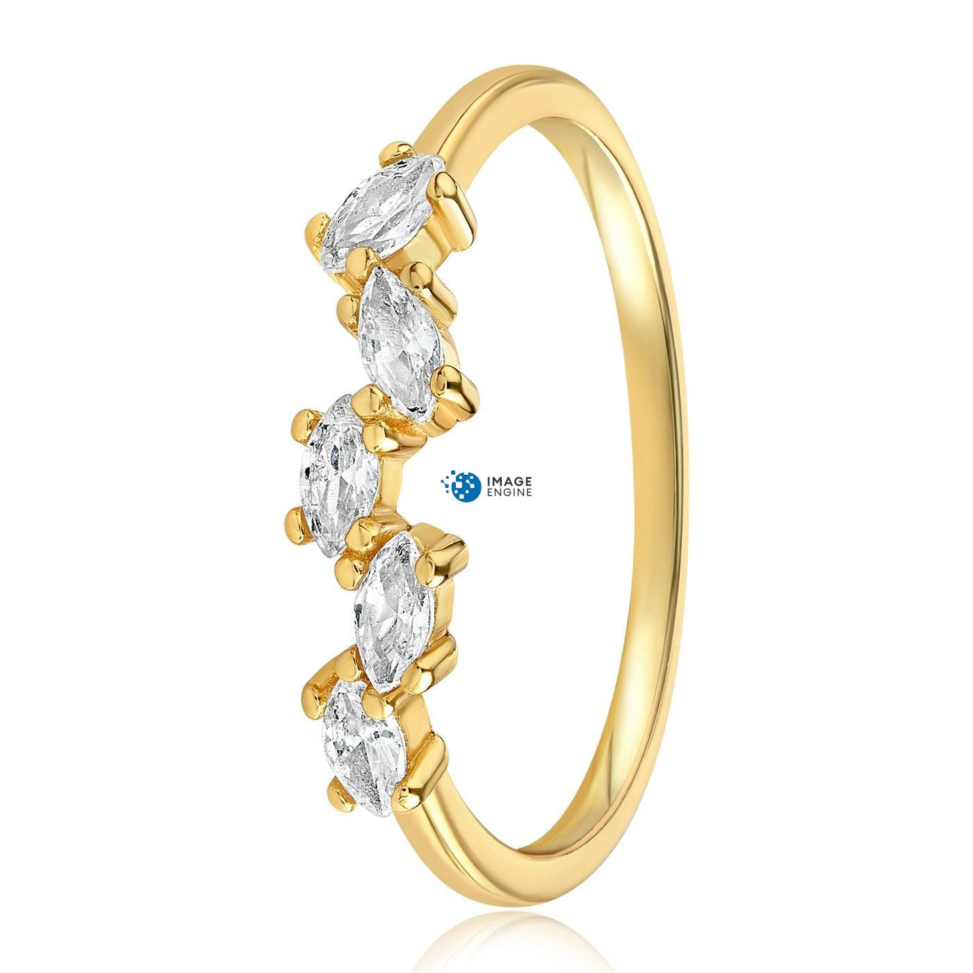Genna Round Cut Ring - Side View - 18K Yellow Gold Vermeil