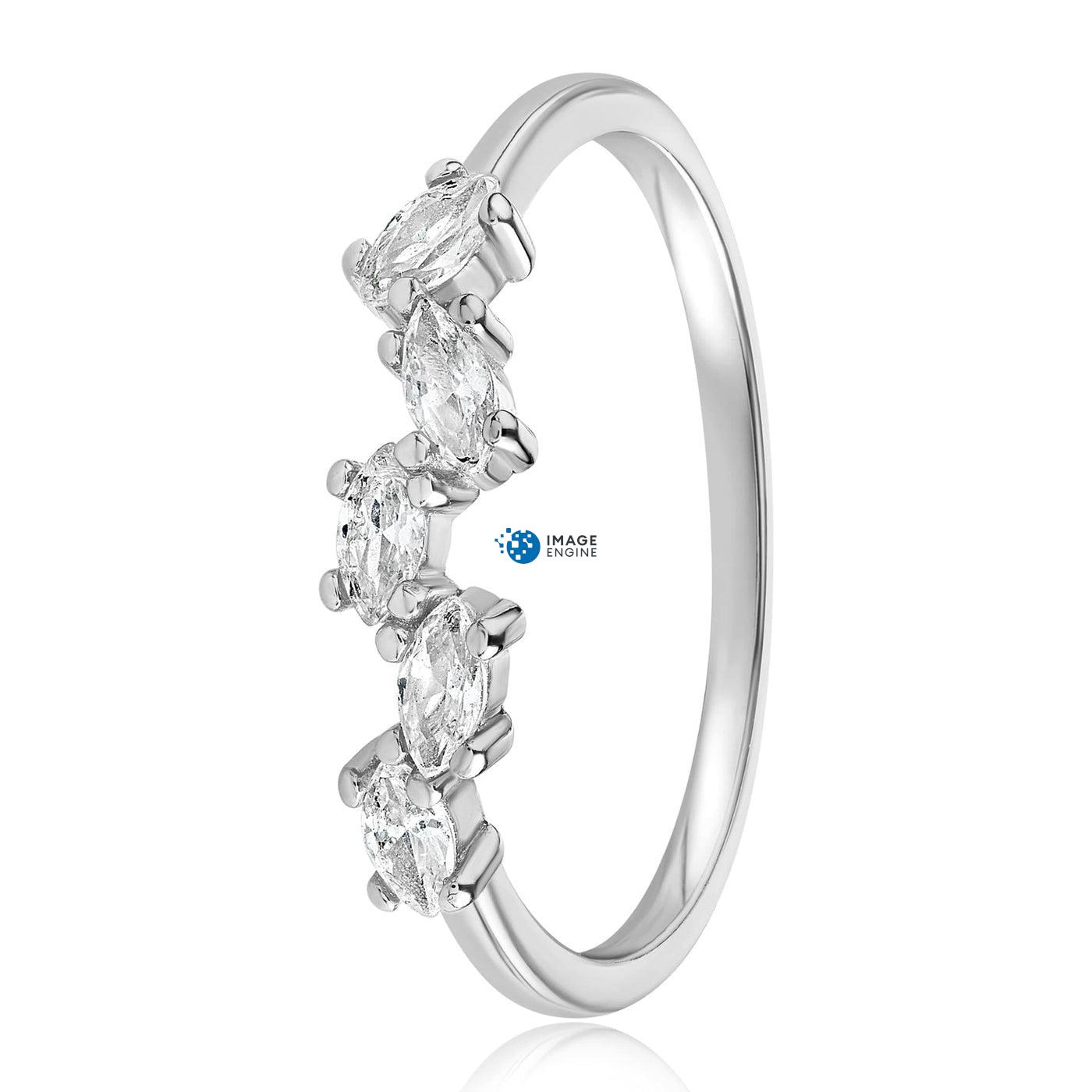 Genna Round Cut Ring - Side View - 925 Sterling Silver