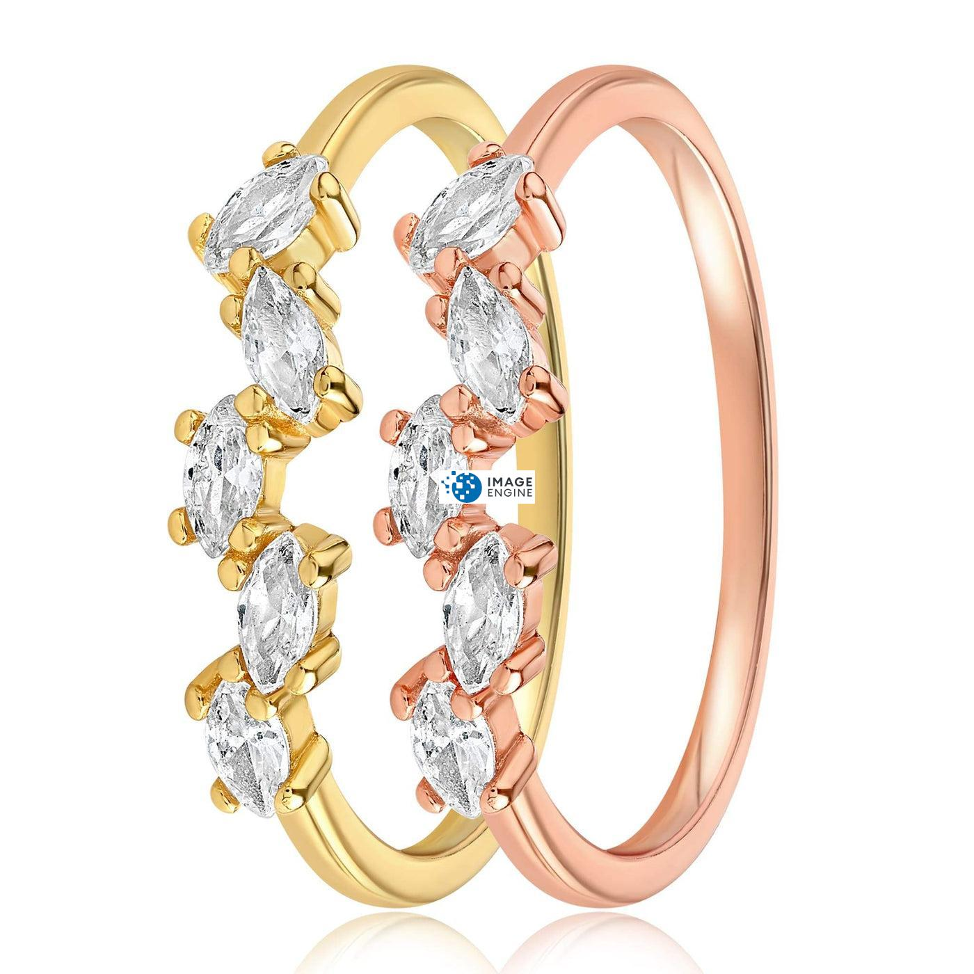 Genna Round Cut Ring - Side by Side - 18K Yellow Gold Vermeil and 18K Rose Gold Vermeil