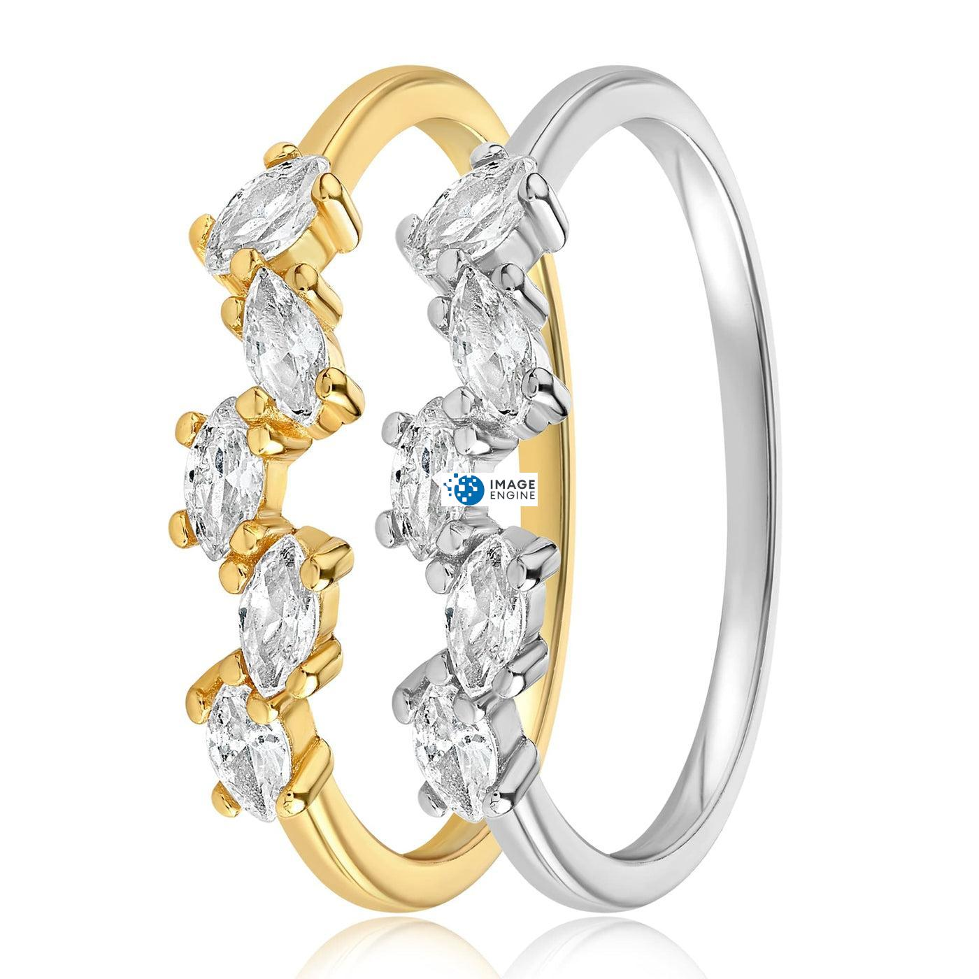 Genna Round Cut Ring - Side by Side - 18K Yellow Gold and 925 Sterling Silver