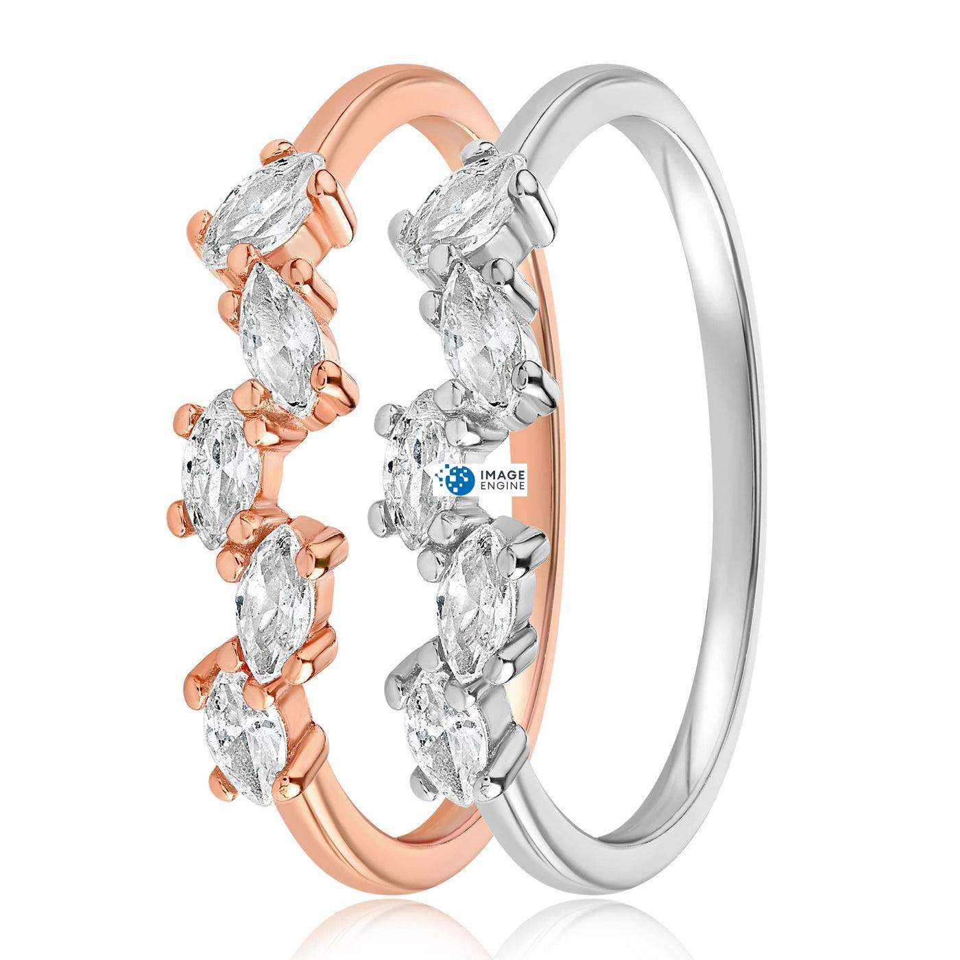 Genna Round Cut Ring - Side by Side - 925 Sterling Silver and 18K Rose Gold Vermeil