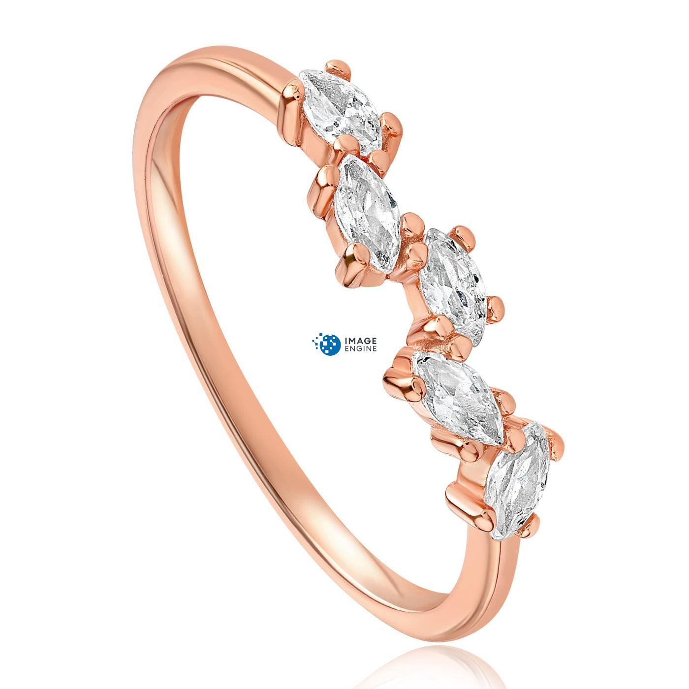 Genna Round Cut Ring - Three Quarter View - 18K Rose Gold Vermeil