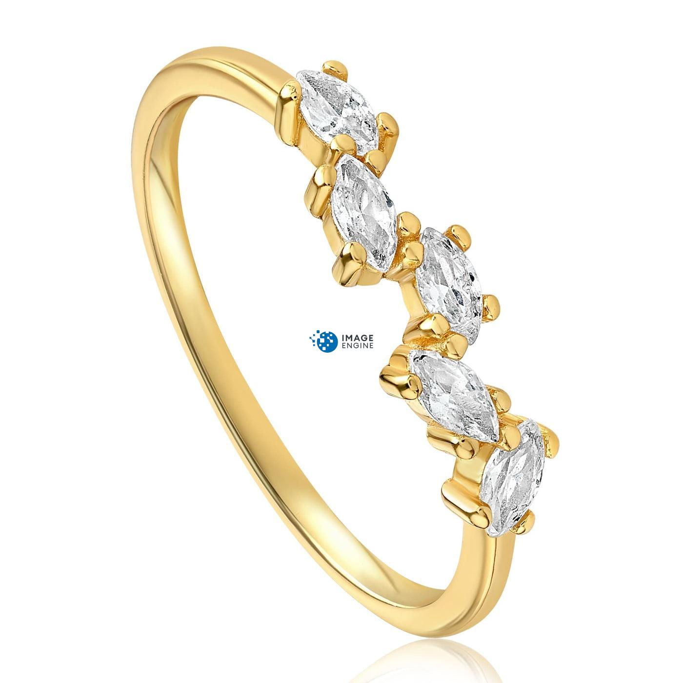 Genna Round Cut Ring - Three Quarter View - 18K Yellow Gold Vermeil