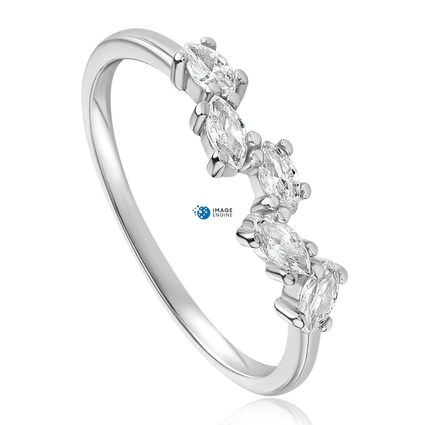 Genna Round Cut Ring - Three Quarter View - 925 Sterling Silver