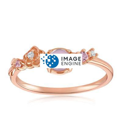 Grace Crystal Ring - Front View Facing Up - 18K Rose Gold Vermeil
