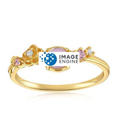 Grace Crystal Ring - Front View Facing Up - 18K  Yellow Gold Vermeil - Featured