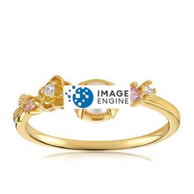 Grace Pearl Ring - Front View Facing Up - 18K Yellow Gold Vermeil Featured