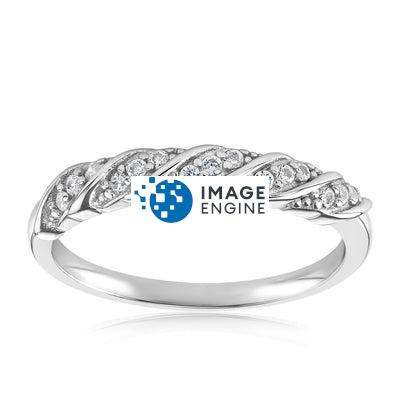 Jessica Simple Twist Ring - Front View Facing Up - 925 Sterling Silver