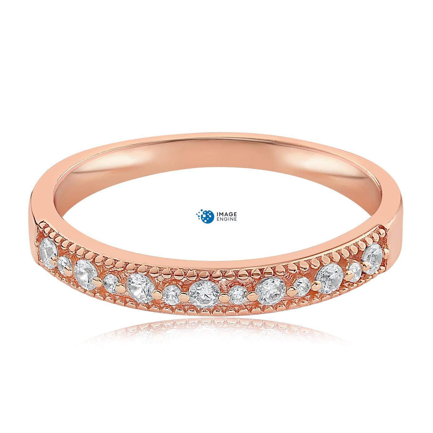 Joyce Layered Stack Ring - Side View - 18K Rose Gold Vermeil