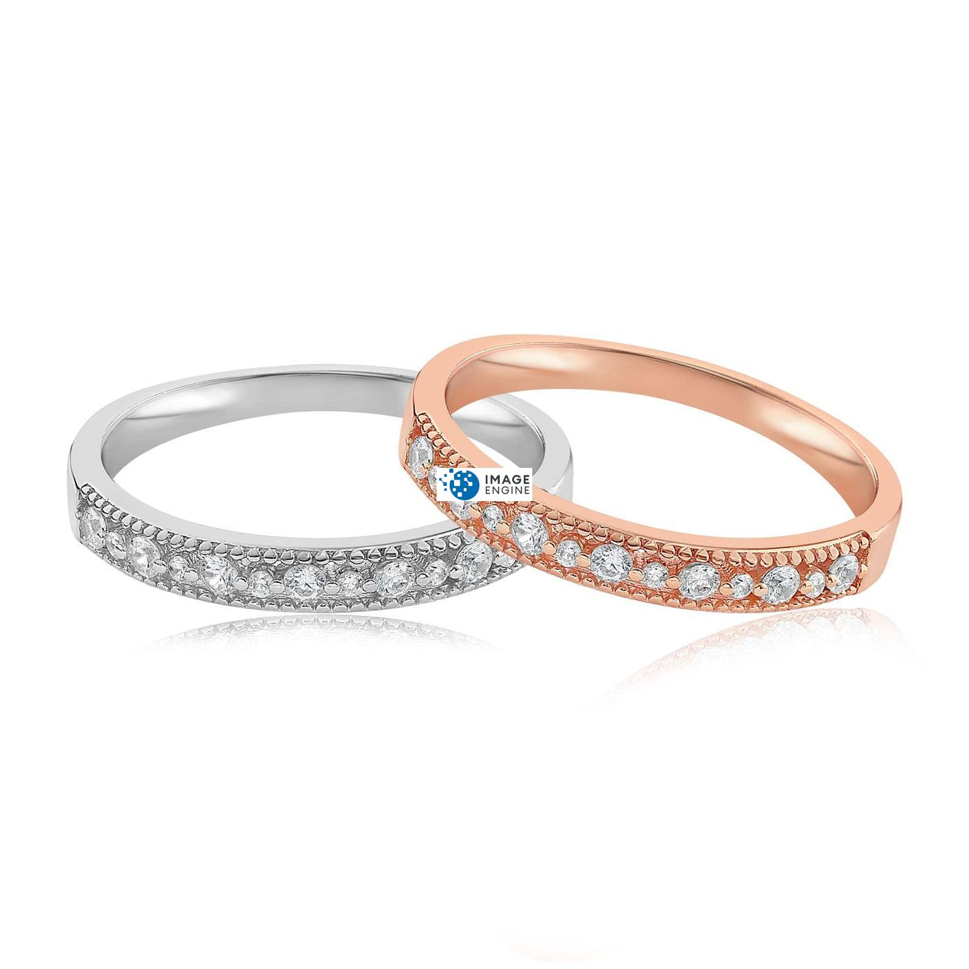 Joyce Layered Stack Ring - Front View Side by Side - 18K Rose Gold Vermeil and 925 Sterling Silver