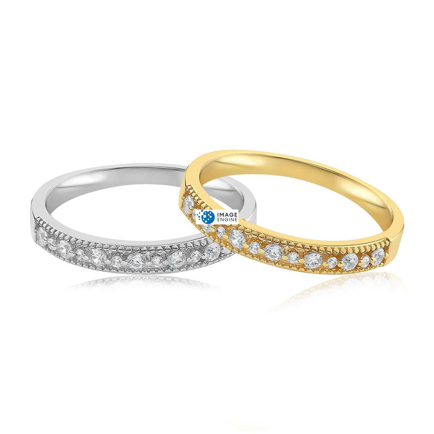 Joyce Layered Stack Ring - Front View Side by Side - 18K Yellow Gold Vermeil and 925 Sterling Silver