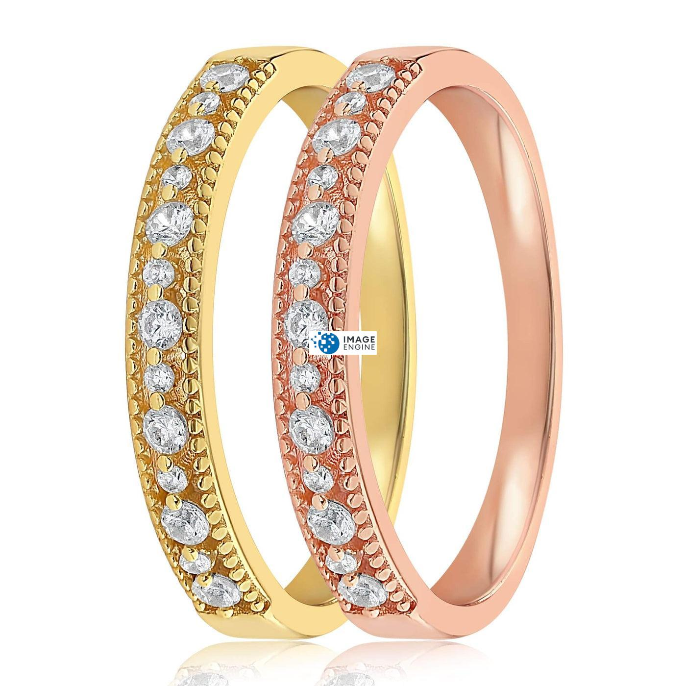 Joyce Layered Stack Ring - Side by Side - 18K Yellow Gold Vermeil and 18K Rose Gold Vermeil