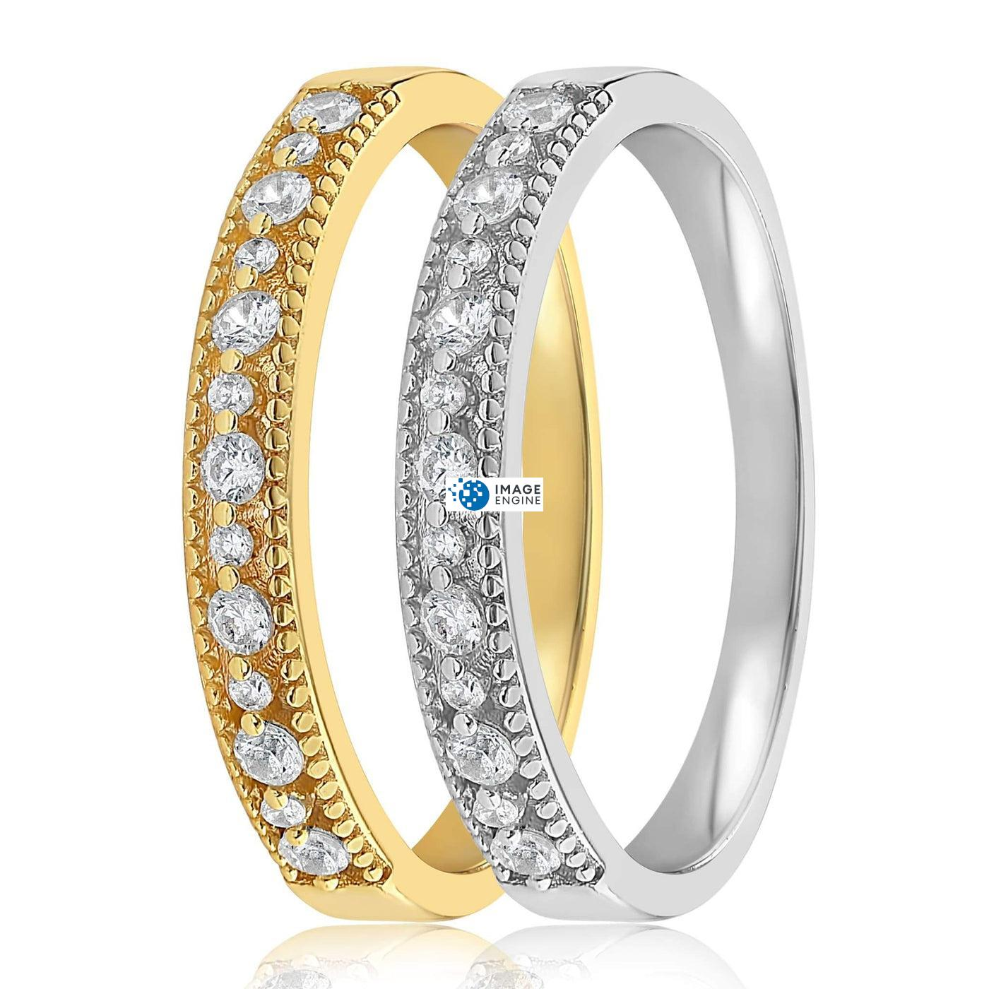 Joyce Layered Stack Ring - Side by Side - 18K Yellow Gold and 925 Sterling Silver