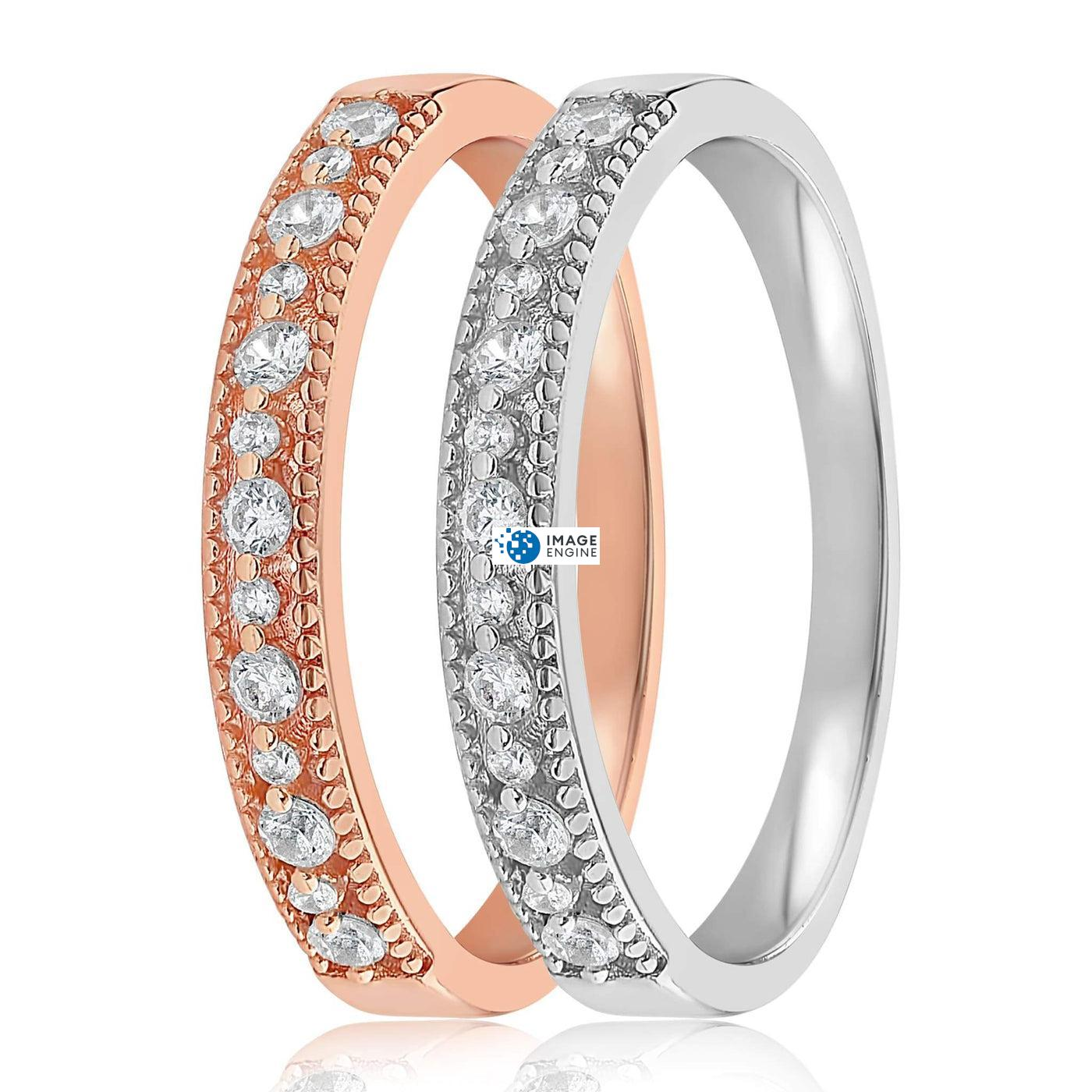Joyce Layered Stack Ring - Side by Side - 925 Sterling Silver and 18K Rose Gold Vermeil