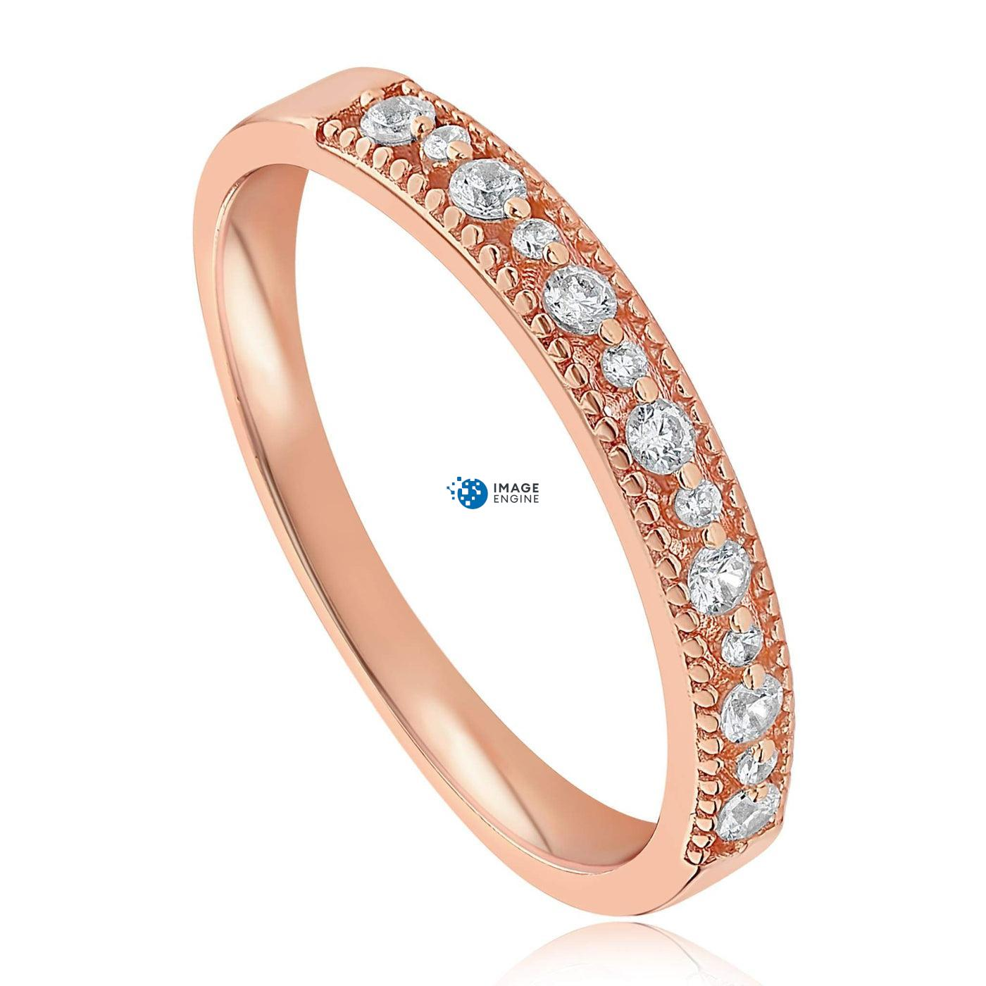Joyce Layered Stack Ring - Three Quarter View - 18K Rose Gold Vermeil