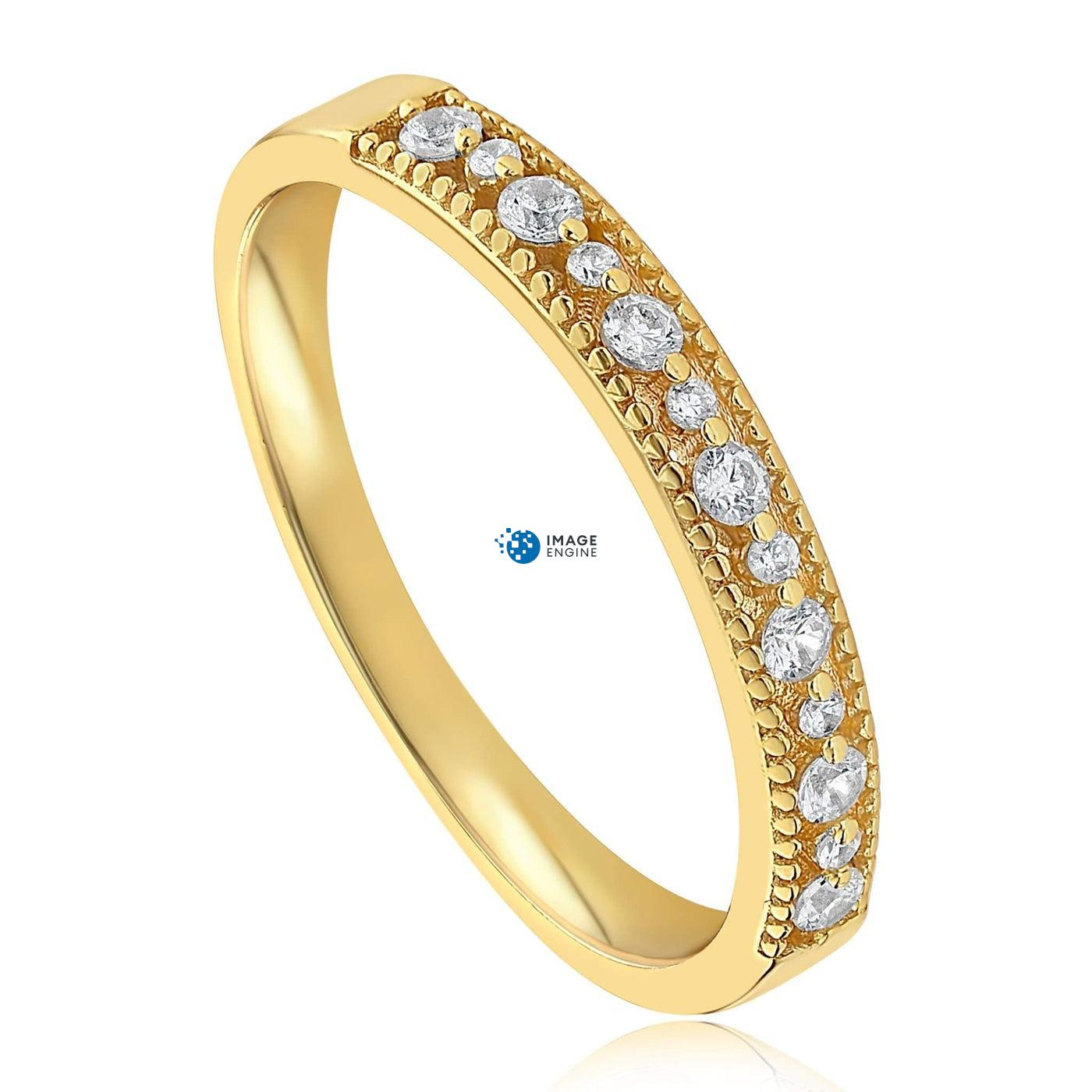Joyce Layered Stack Ring - Three Quarter View - 18K Yellow Gold Vermeil