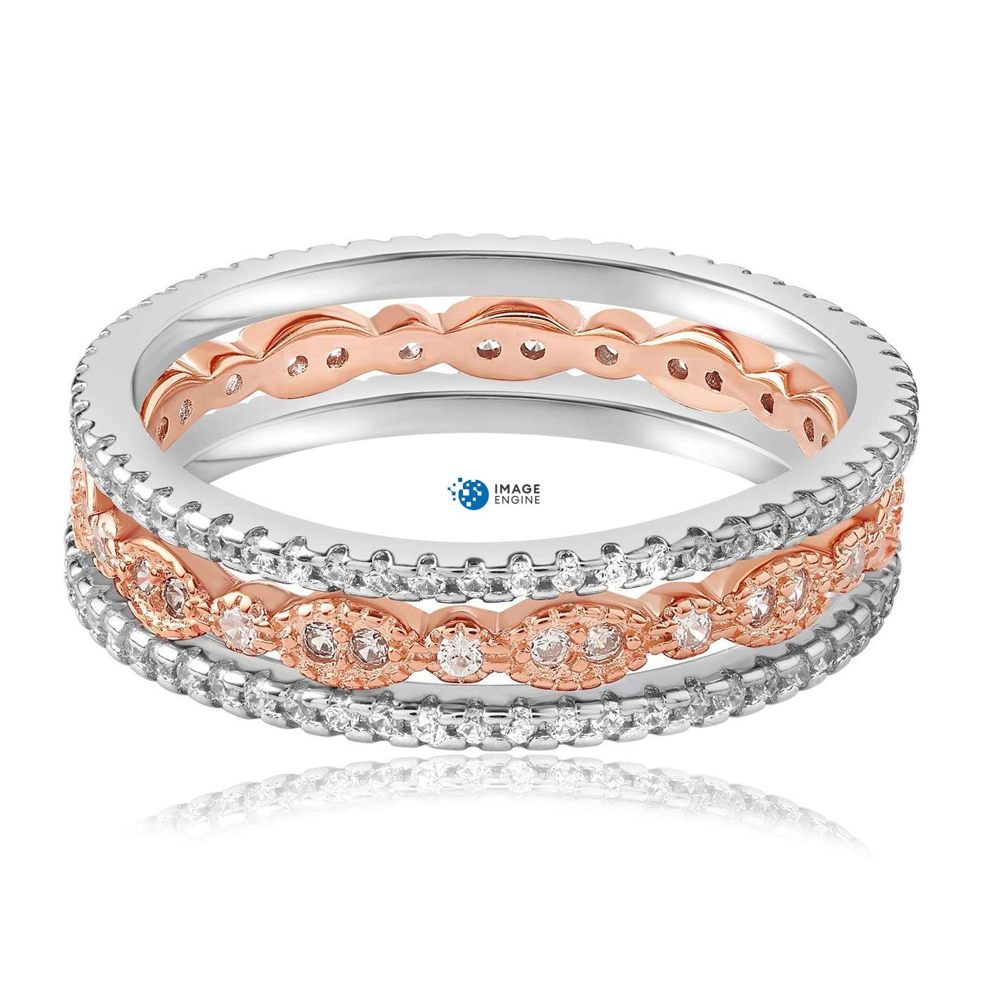 Juliana 3 Ring Set - Front View Facing Down - 18K Rose Gold Vermeil