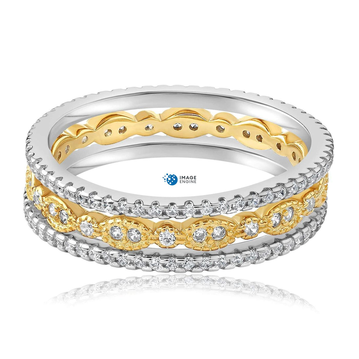 Juliana 3 Ring Set - Front View Facing Down - 18K Yellow Gold Vermeil