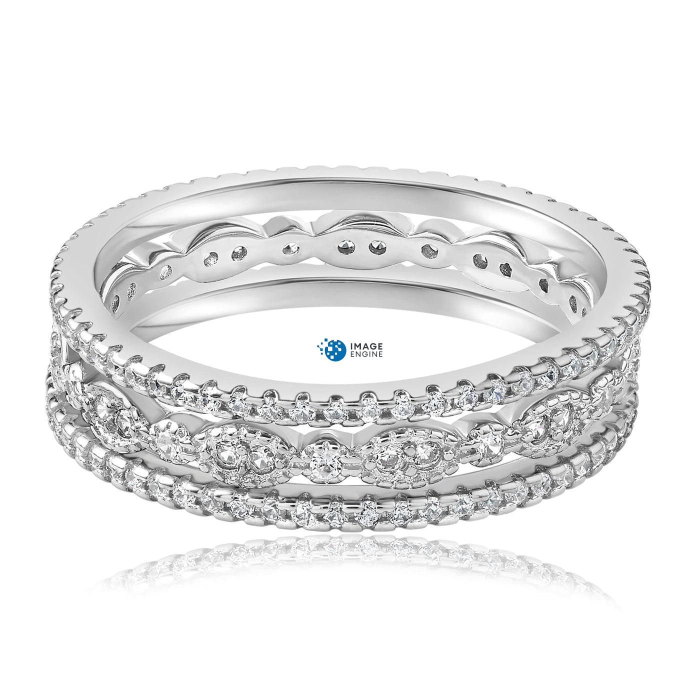 Juliana 3 Ring Set - Front View Facing Down - 925 Sterling Silver