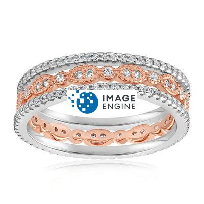 Juliana 3 Ring Set - Front View Facing Up - 18K Rose Gold Vermeil