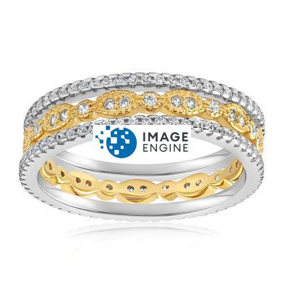 Juliana 3 Ring Set - Front View Facing Up - 18K Yellow Gold Vermeil Featured
