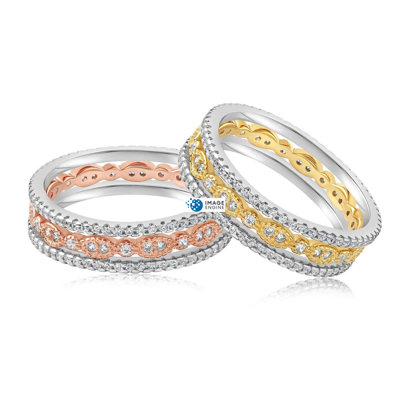 Juliana 3 Ring Set - Front View Side by Side - 18K Rose Gold Vermeil and 18K Yellow Gold Vermeil
