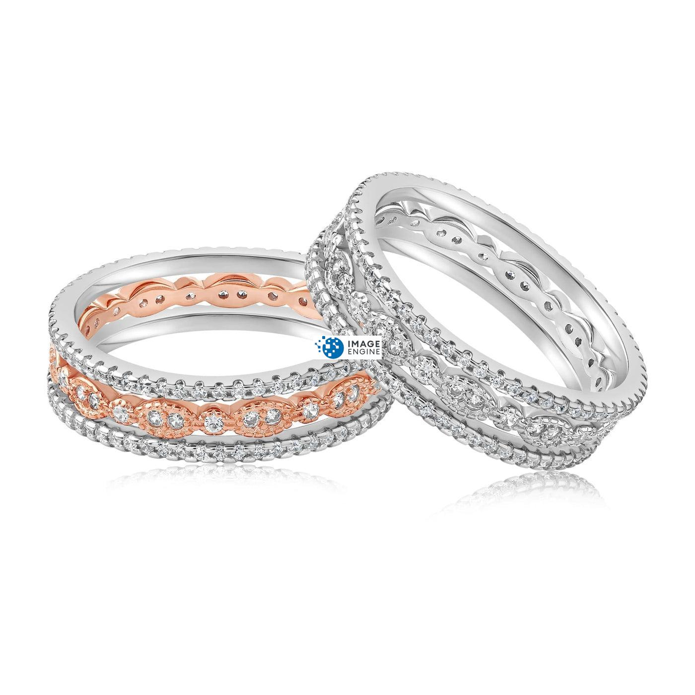 Juliana 3 Ring Set - Front View Side by Side - 18K Rose Gold Vermeil and 925 Sterling Silver