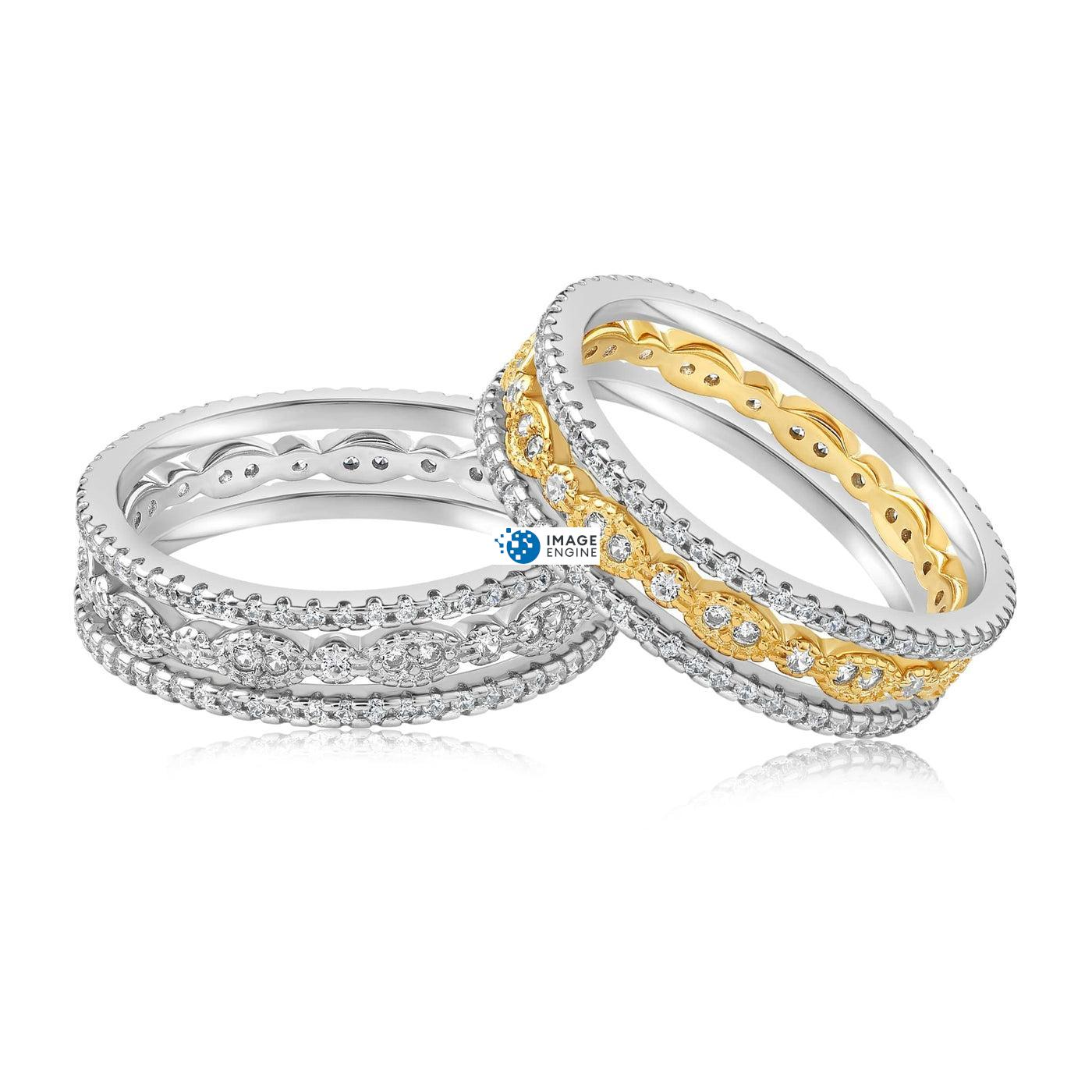 Juliana 3 Ring Set - Front View Side by Side - 18K Yellow Gold Vermeil and 925 Sterling Silver