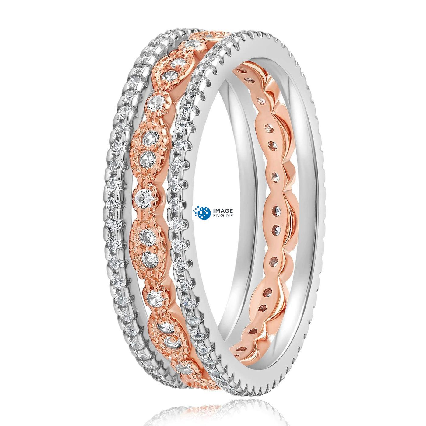 Juliana 3 Ring Set - Side View - 18K Rose Gold Vermeil