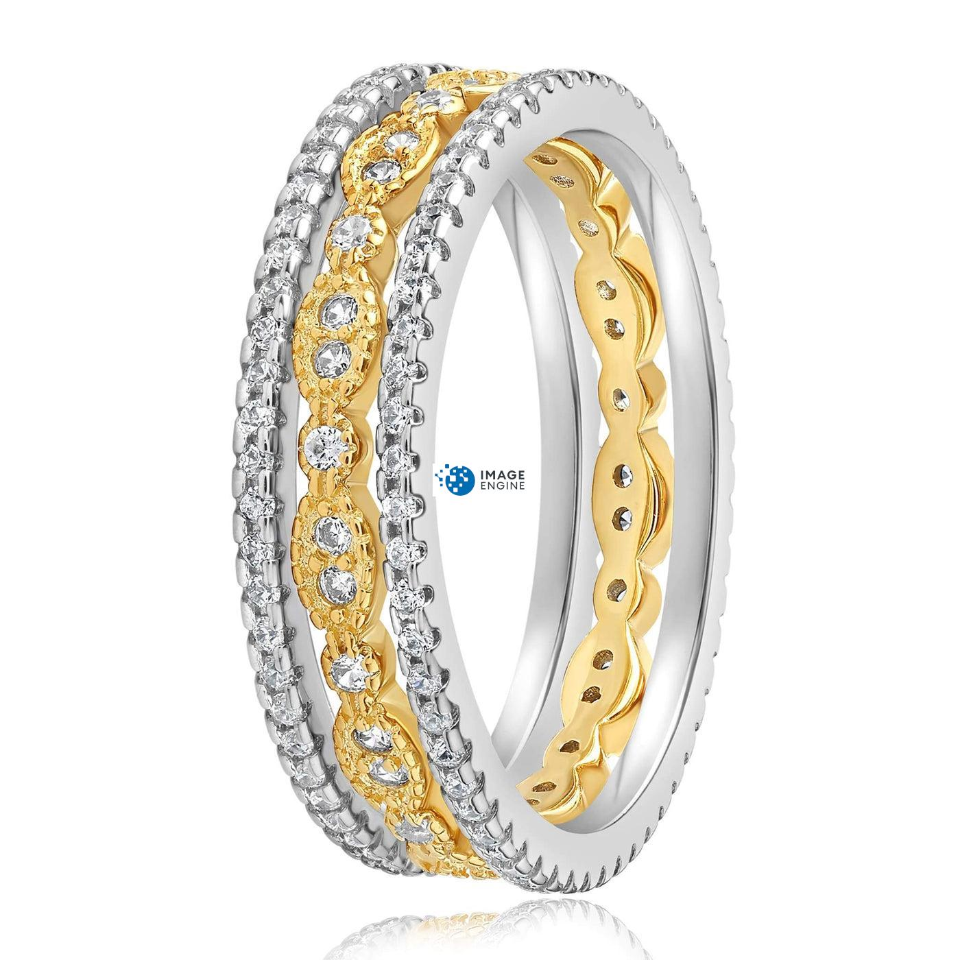 Juliana 3 Ring Set - Side View - 18K Yellow Gold Vermeil