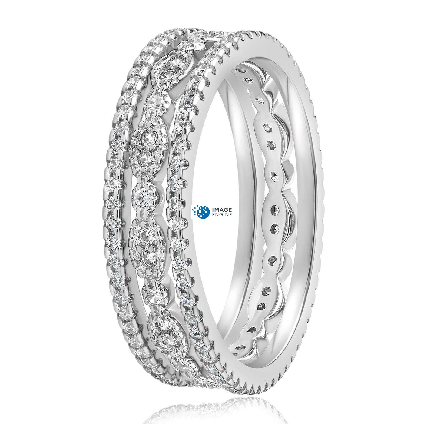 Juliana 3 Ring Set - Side View - 925 Sterling Silver