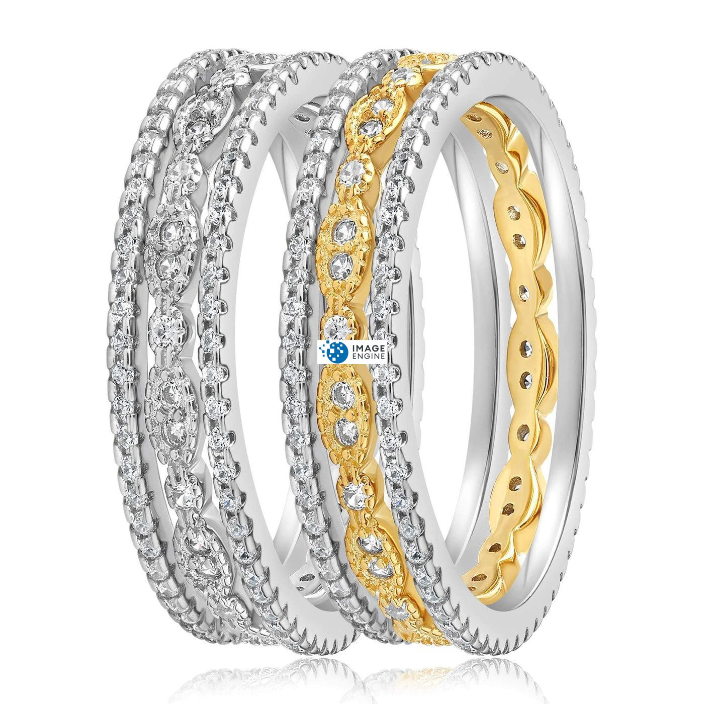 Juliana 3 Ring Set - Side by Side - 18K Yellow Gold and 925 Sterling Silver