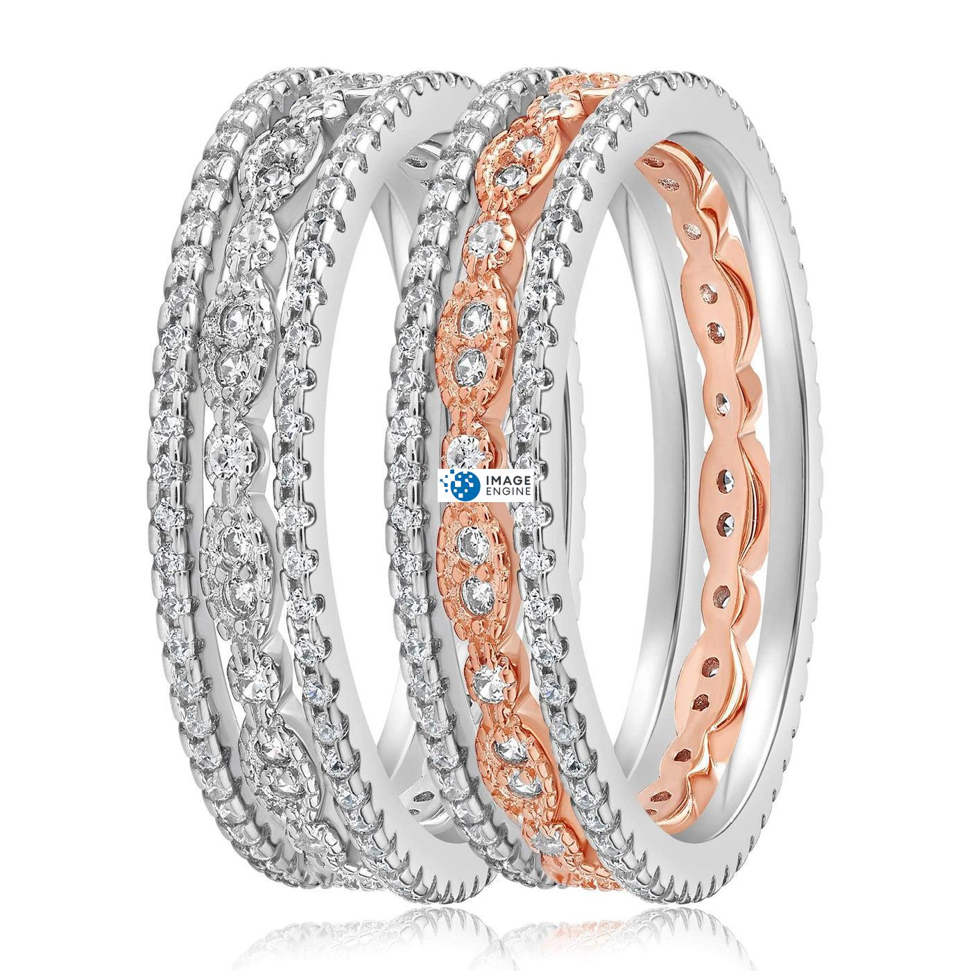 Juliana 3 Ring Set - Side by Side - 925 Sterling Silver and 18K Rose Gold Vermeil