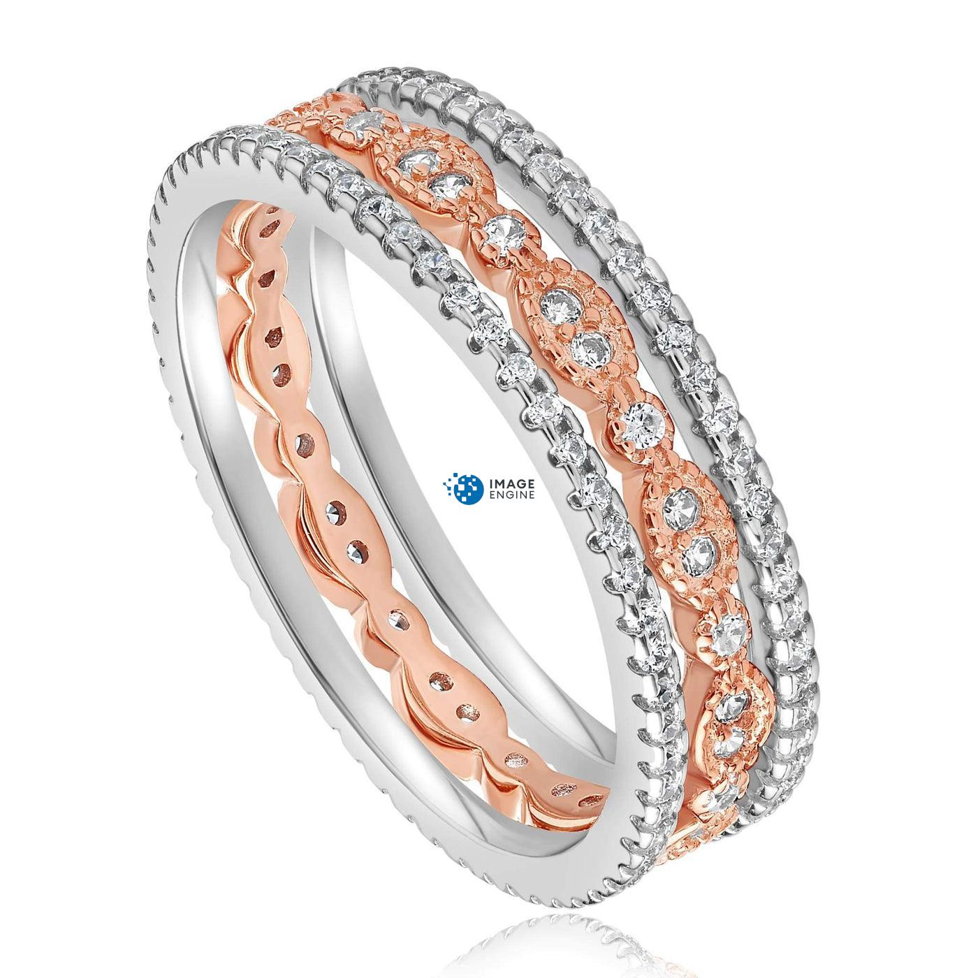 Juliana 3 Ring Set - Three Quarter View - 18K Rose Gold Vermeil