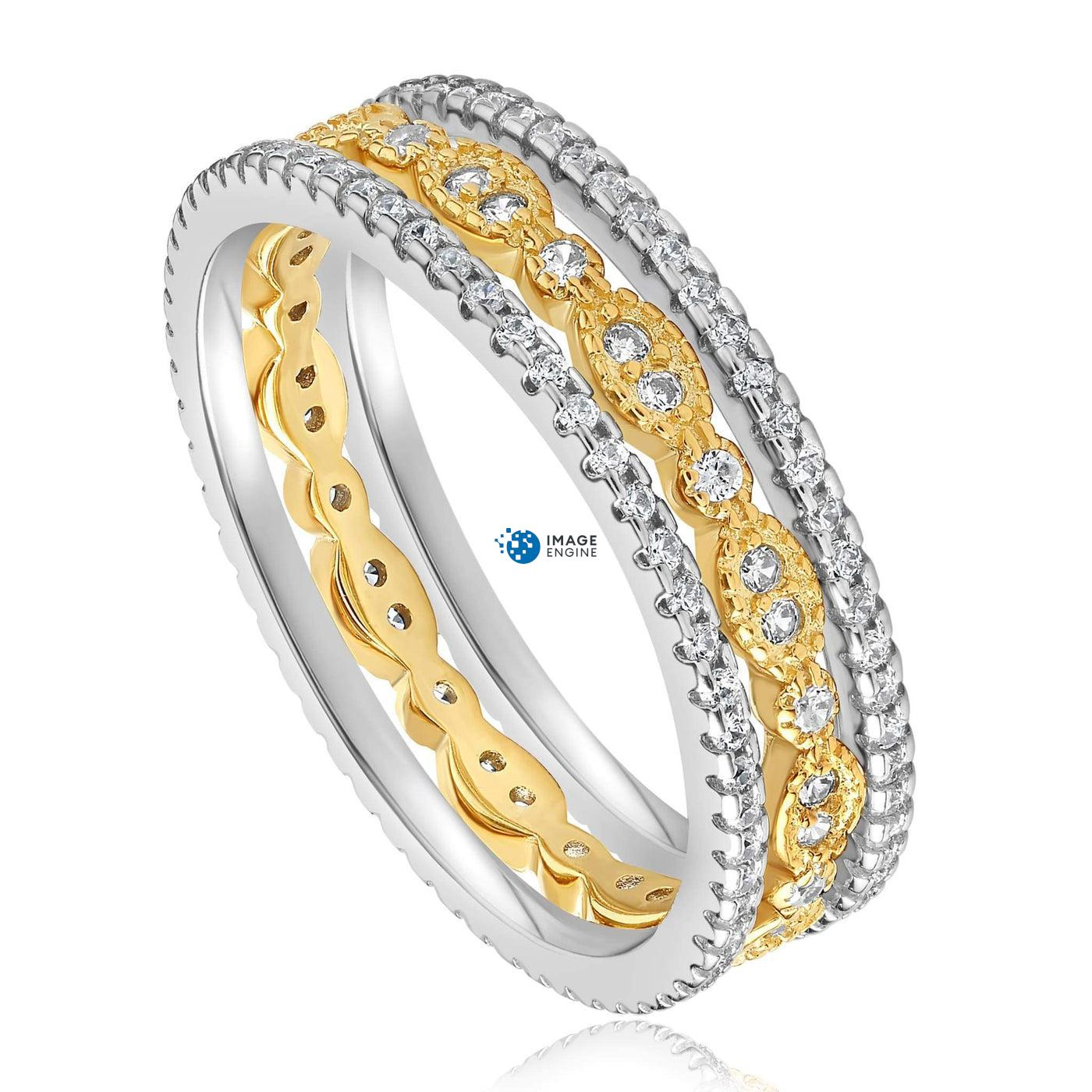 Juliana 3 Ring Set - Three Quarter View - 18K Yellow Gold Vermeil