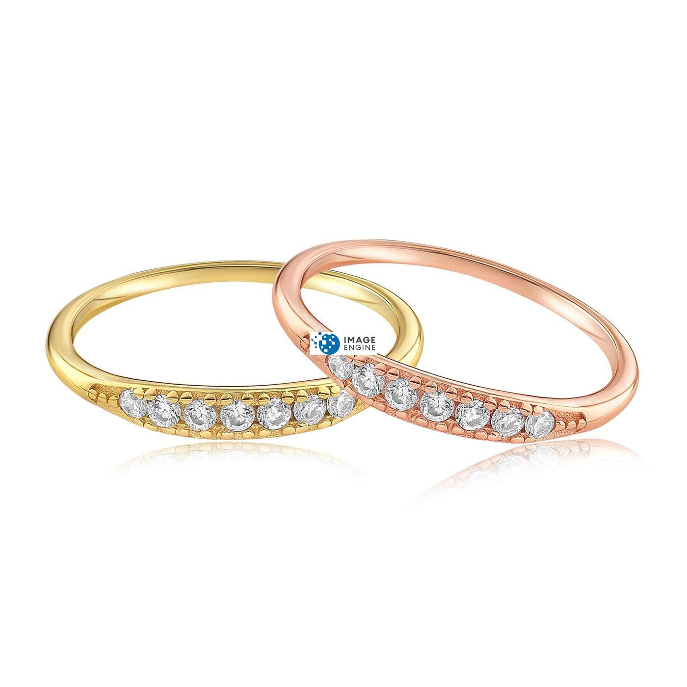 Kathleen Stack Ring - Front View Side by Side - 18K Rose Gold Vermeil and 18K Yellow Gold Vermeil